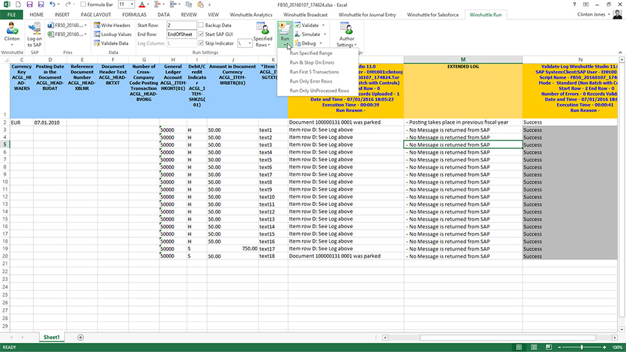 Runner integrated with Excel
